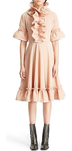 J.w.anderson ruffle trim fit & flare dress in flesh - Unexpected lambskin piping adds an edgy touch to an...