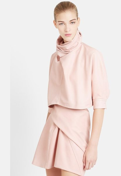 J.w.anderson twist neck nappa leather crop top in pink - An artful twist scrunches the high, face-framing...
