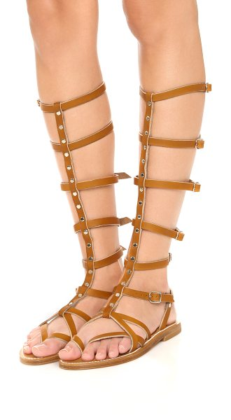 K. JACQUES Appia gladiator sandals in pul natural/argen - Polished studs accent the center strap on these...