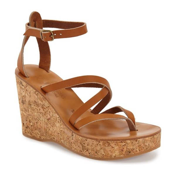 K. Jacques 'cunegonde' wedge sandal in natural - An earthy cork wedge and platform ground a strappy thong...