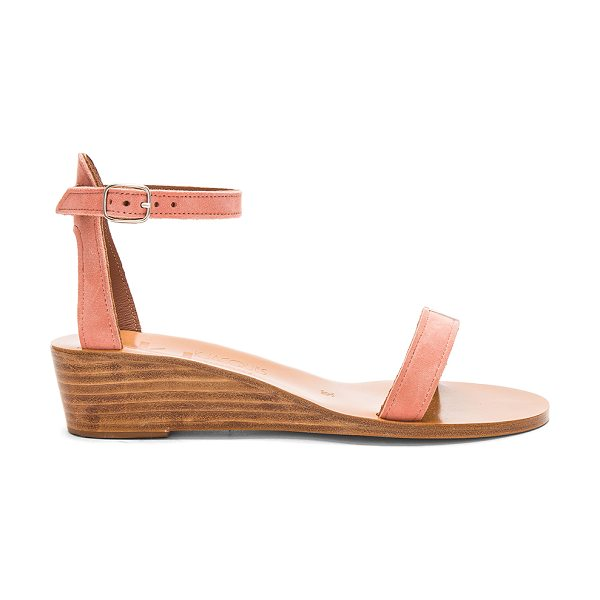 "K. Jacques Madison Sandal in pink - ""Suede upper with leather sole. Ankle strap with buckle..."