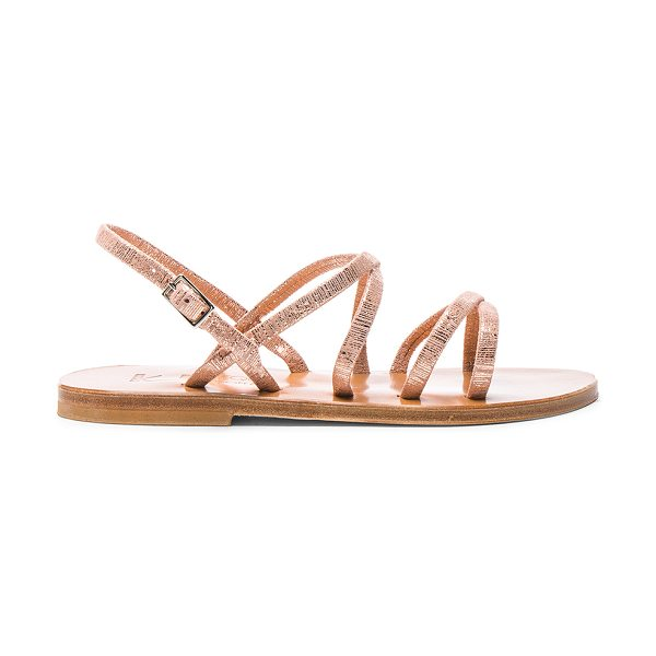 K. Jacques Metallic Suede Batura Sandals in rey peach - Metallic coated suede upper with leather sole. Made in...