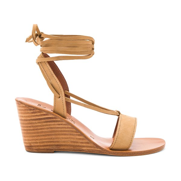 "K. Jacques Santiago Wedge in tan - ""Suede upper with leather sole. Laced front with wrap..."