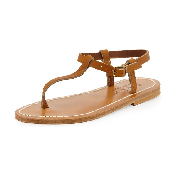 K. Jacques Petrone leather thong sandal in natural -  Leather thong sandal. Adjustable buckled ankle strap....
