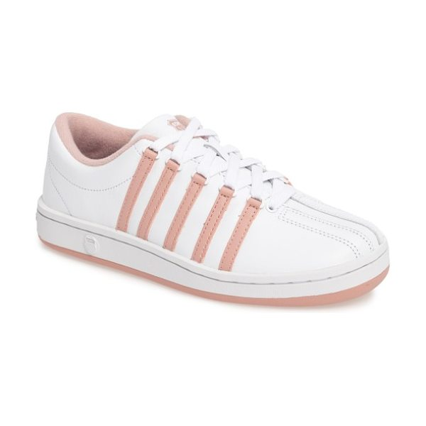 K-Swiss 'classic' sneaker in white/ cameo brown - Classic five-stripe styling defines a lace-up sneaker...