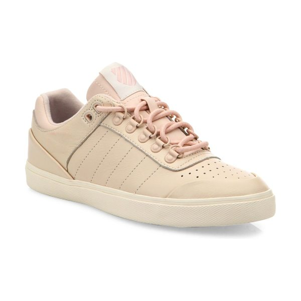K-Swiss gstaad neu sleek leather sneakers in pink-tan - Court-inspired leather sneaker with perforated toe....