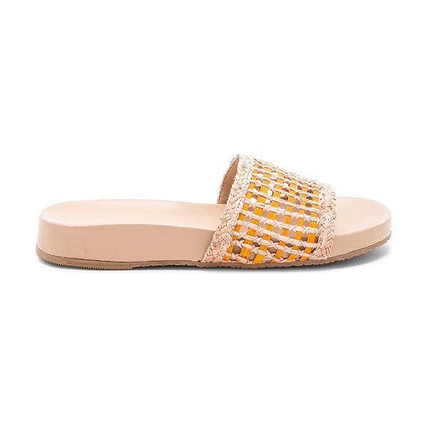 KAANAS Akumal Woven Pool Slide in sorbet - Woven straw upper with rubber sole. Slip-on styling....