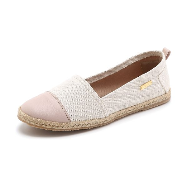 KAANAS Marseille flat espadrilles in seashell/rose - A leather toe cap brings contrast to these handmade...