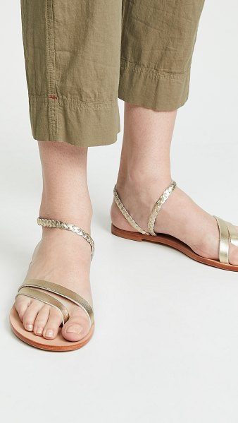 KAANAS rio braided ankle strap sandals in gold