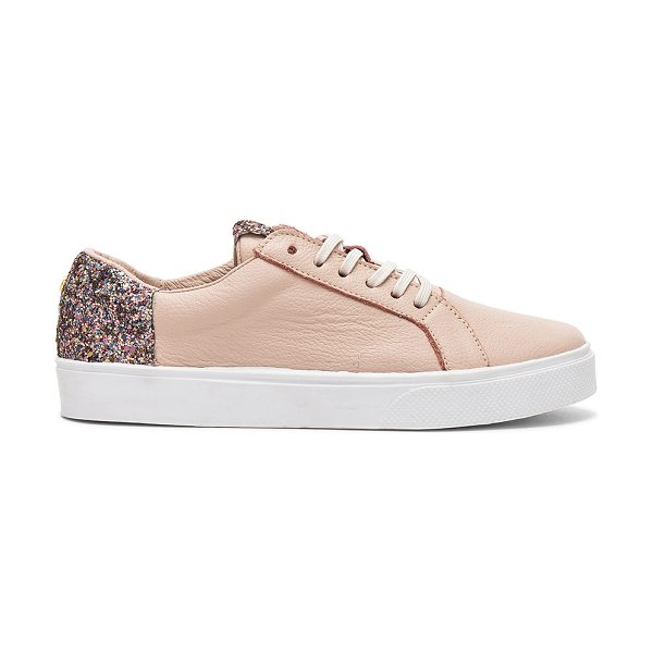 KAANAS San Rafael Sneaker With Contrast Heel in blush - Leather upper with rubber sole. Lace-up front. Glittered...
