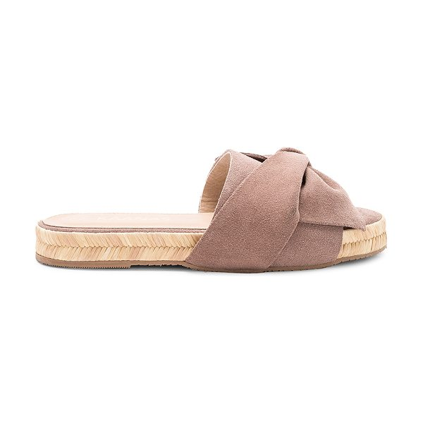 "KAANAS Say Ulita Bow Slide in taupe - ""Suede upper with rubber sole. Slip-on styling. Front..."