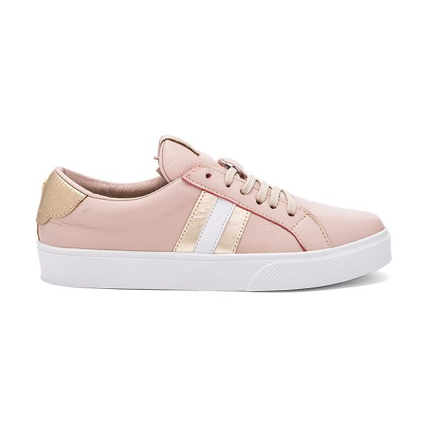 KAANAS Tatacoa sneaker in blush - Leather upper with rubber sole. Lace-up front. Metallic...