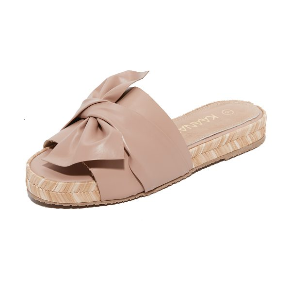 KAANAS tularosa slides in nude - A wide, twisted bow details the vamp on these leather...