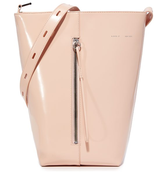 Kara polished panel bucket bag in pink - A structured KARA bucket bag in glossy patent leather....
