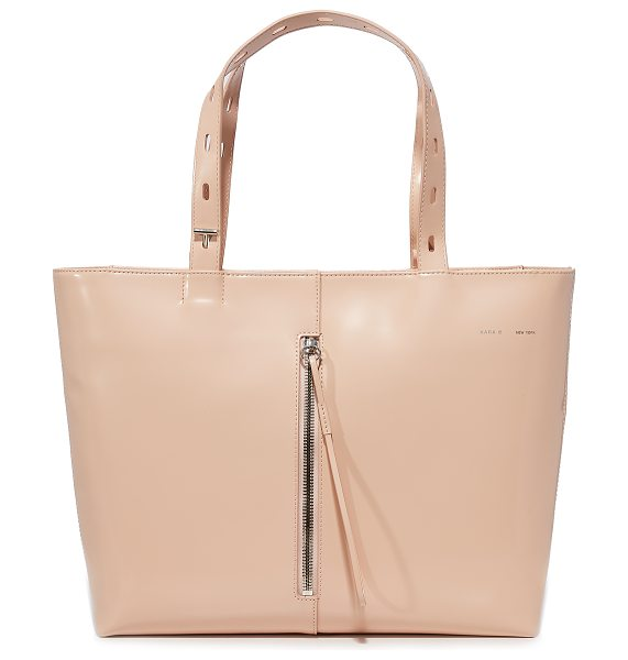 Kara polished panel small zip top tote in pink - This polished KARA tote is crafted from glossy patent...