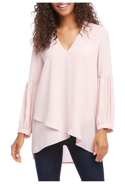 Karen Kane bishop sleeve crossover blouse in pink