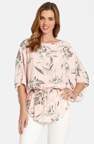 Karen Kane drawstring kimono sleeve top in rose - Pretty blossoms with a pencil-sketch look are scattered...