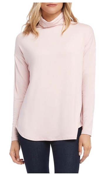 Karen Kane funnel neck shirttail top in pink