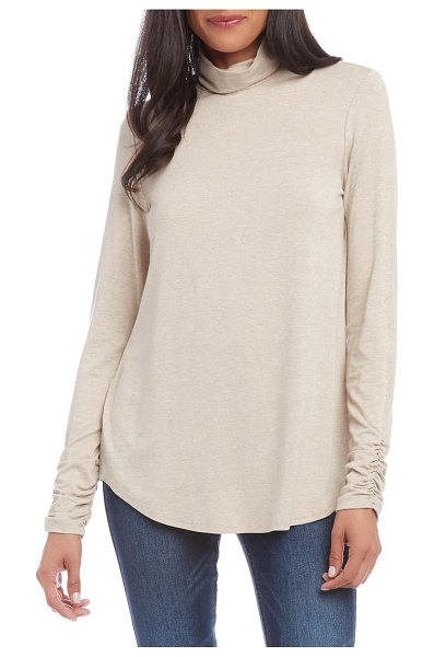 Karen Kane shirred sleeve turtleneck top in beige