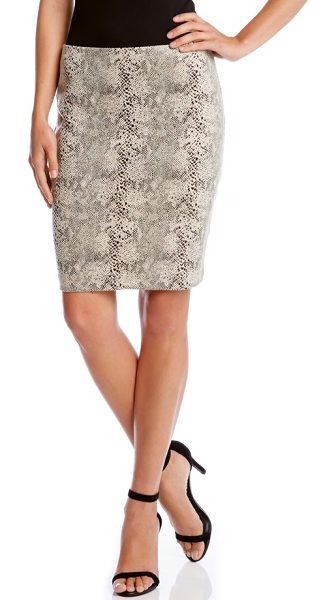 Karen Kane snakeskin jacquard faux suede pencil skirt in cream - The slinky luster of snakeskin-textured faux suede gives...
