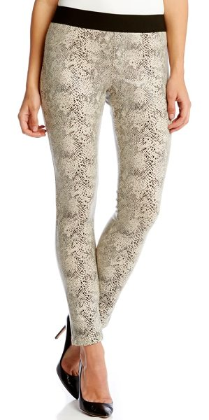 Karen Kane snakeskin jacquard faux suede skinny pants in cream - The slinky luster of snakeskin-textured faux suede gives...