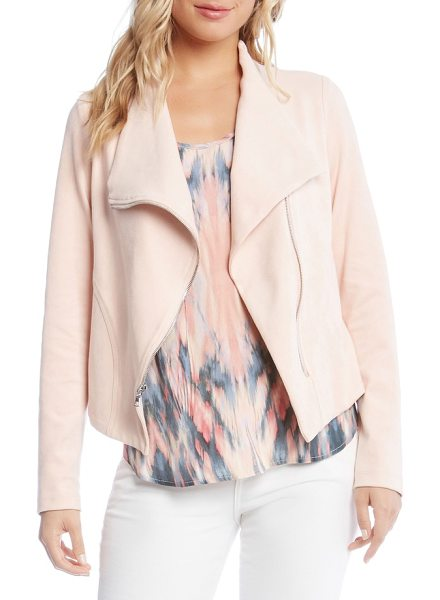 KAREN KANE stretch knit moto jacket in rose - Moto style meets major softness and stretch in a pastel...