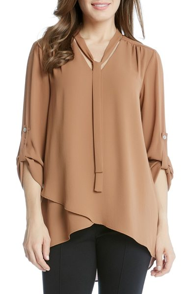 Karen Kane tie neck blouse in cognac - Easy elegance for any day of the week, a flowy crepe...