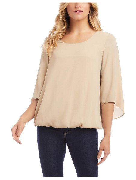 Karen Kane twist back crepe top in beige