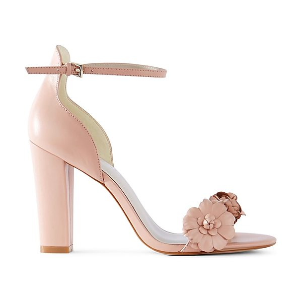 Karen Millen Leather Floral Embellished High Heel Sandals in nude - Karen Millen Leather Floral Embellished High Heel Sandals-Women
