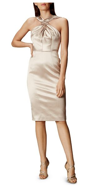 Karen Millen Satin Crisscross Dress in champagne - Karen Millen Satin Crisscross Dress-Women