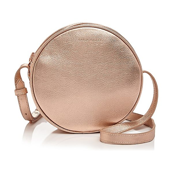Karen Walker Suzi Round Mini Leather Crossbody in bronze/gold