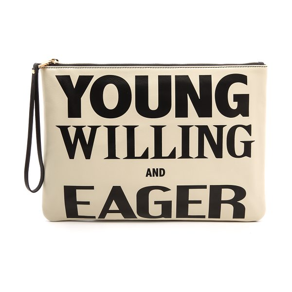 Karen Walker Young willing & eager clutch in cream/black - A zippered Karen Walker pouch features 'Young Willing...