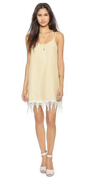 Karen Zambos Vintage Couture Jocelyn dress in vanilla - Fringed lace trims the hem of this bright Karen Zambos...