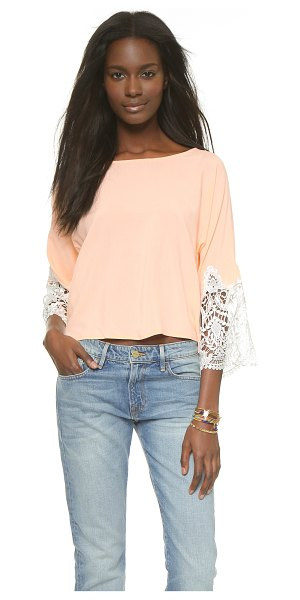 Karen Zambos Vintage Couture Madelyn crop top in peach - Intricate lace creates contrast cuffs on a soft Karen...