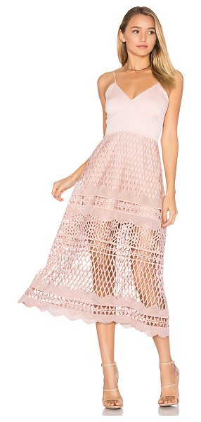 Karina Grimaldi Alice Crochet Dress in blush - Poly blend. Dry clean only. Partially lined. Adjustable...