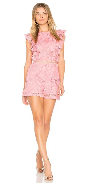 """Karina Grimaldi Avery Lace Romper in pink - """"Poly blend. Hand wash cold. Ruffle sleeves. Allover..."""
