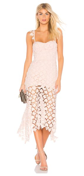 Karina Grimaldi Irma Lace Dress in pink - Poly blend. Dry clean only. Fully lined. Adjustable...