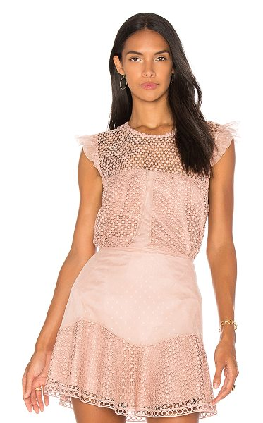 Karina Grimaldi Isabella Lace Top in blush - Self & Lining: 100% poly. Dry clean only. Allover lace...