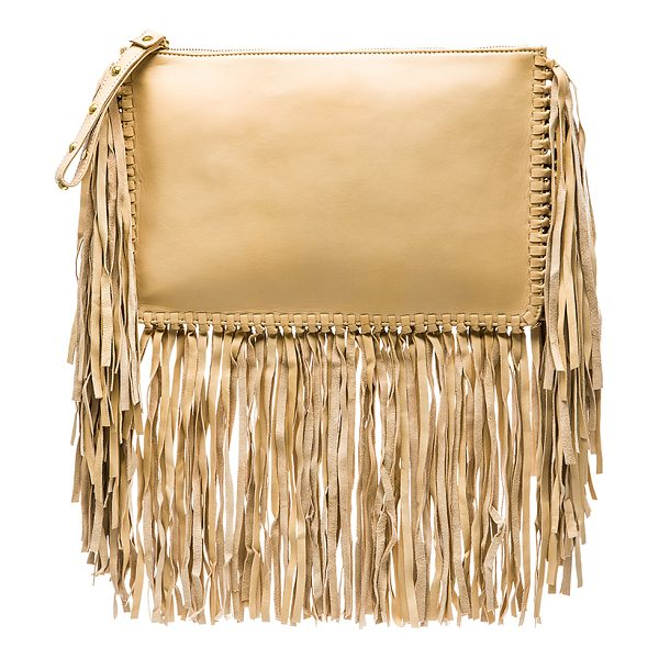 KARINA GRIMALDI Merino Fringe Clutch in beige - Lamb leather exterior with canvas lining. Zip top...