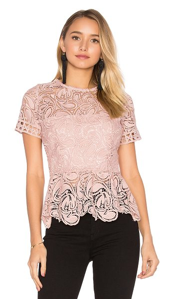Karina Grimaldi Rosa Lace Top in blush - Poly blend. Hand wash cold. Allover lace fabric with...