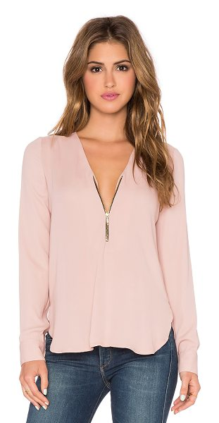 Karina Grimaldi Sofia top in blush - Poly blend. Dry clean only. Partial zip front closure....