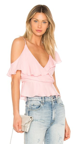 KARINA GRIMALDI Wrap Top in pink - Silk blend. Dry clean only. Wrap front with tie closure....