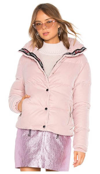 KARL X KAIA Velvet Jacket in pink - Poly blend. Front snap button closure. Side zipper...