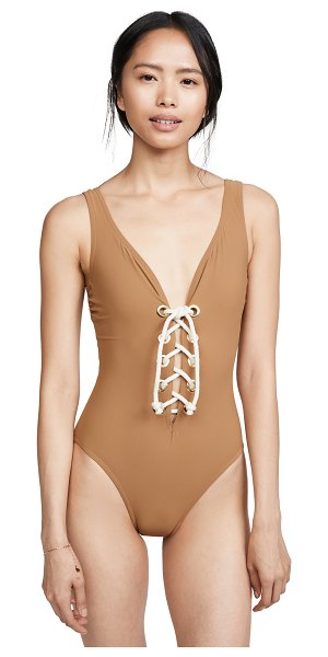 Karla Colletto colette v neck one piece in toffee