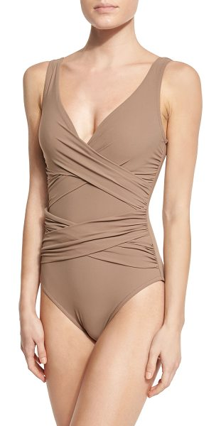 Karla Colletto Criss-Cross One-Piece Swimsuit in latte - Criss-cross microfiber. Deep V neckline; scoop back....