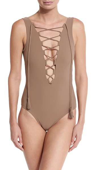 """KARLA COLLETTO Entwined Plunge Lace-Up One-Piece Swimsuit - Karla Colletto """"Entwined"""" one-piece swimsuit in solid..."""