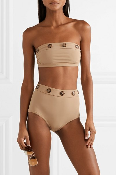 Karla Colletto lauren button-embellished bandeau bikini top in sand - Karla Colletto's 'Lauren' bikini top is woven with Xtra...