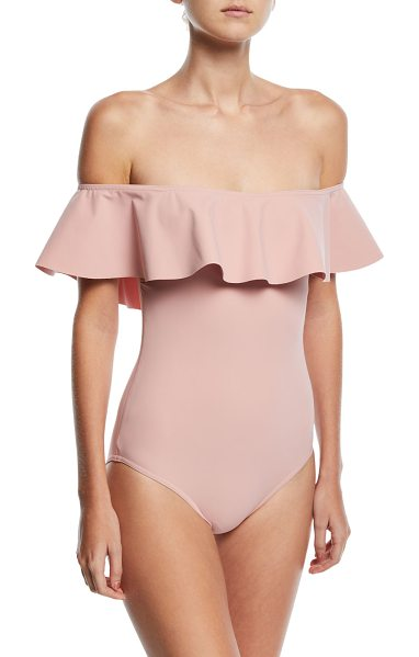 """Karla Colletto Zaha Off-the-Shoulder Solid Maillot One-Piece Swimsuit in pink - Karla Colletto """"Zaha"""" one-piece swimsuit in solid..."""
