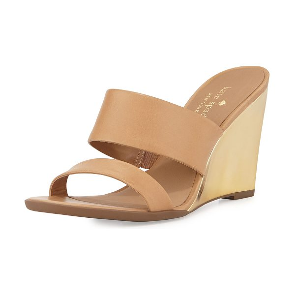 "KATE SPADE NEW YORK Abilene two-band wedge sandal - kate spade new york sandal with leather upper. 4""..."