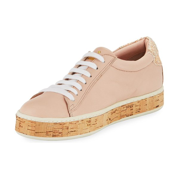 "Kate Spade New York amy cork embellished sneaker in blush - kate spade new york leather sneaker. 1.3"" cork platform..."